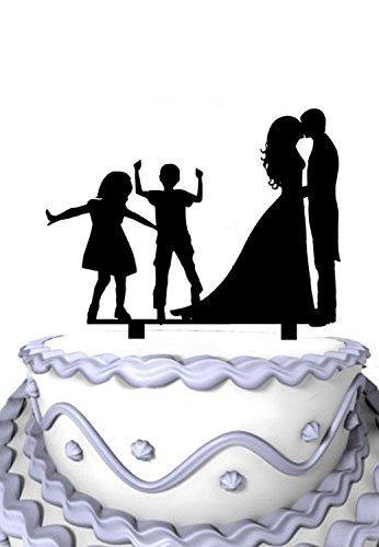 Family Wedding Cake Topper with Children | Bride, Groom, Son and Daughter (2 Kids) - CHARMERRY