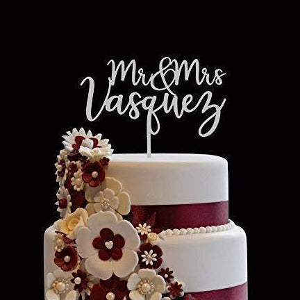 Mr. and Mrs. /  Last Name Personalized Wooden Cake Topper | Wedding Cake Topper - CHARMERRY