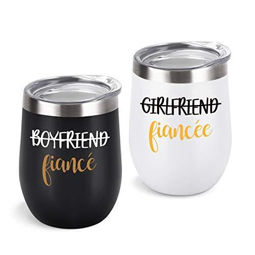 Couple Stainless Steel Wine Tumbler With Lid Set of 2 | Black and White | Gift Idea for Engagement, Fiancé - CHARMERRY