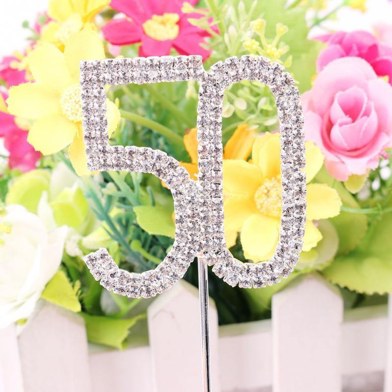 50 Fifty Number Crystal Rhinestone /50th Anniversary Cake Topper (FAUX Diamond Diamante)