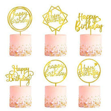 Load image into Gallery viewer, 6-Pack Gold Birthday Cake Topper Set, Double-Sided Glitter, Acrylic Happy Birthday Cake Toppers /Cupcake Toppers, Birthday Decorations for Children or Adults. - CHARMERRY