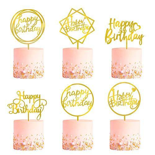 6-Pack Gold Birthday Cake Topper Set, Double-Sided Glitter, Acrylic Happy Birthday Cake Toppers /Cupcake Toppers, Birthday Decorations for Children or Adults. - CHARMERRY