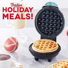 Load image into Gallery viewer, Dash DMW100AT Machine for Individual, Paninis, Hash Browns, & other Mini waffle maker, 4 inch, Holiday Tree - Aqua - CHARMERRY