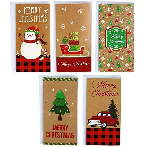 Kraft Christmas 30 Gift Card / Money Holders and 30 Envelopes - CHARMERRY