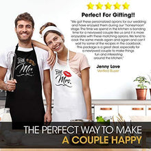 Load image into Gallery viewer, Mr. and Mrs. Aprons with Romantic Recipe Book, Oven Mitts & Pot Holder | Gift Idea for Bridal Shower, Bride, Engagement and Wedding - CHARMERRY