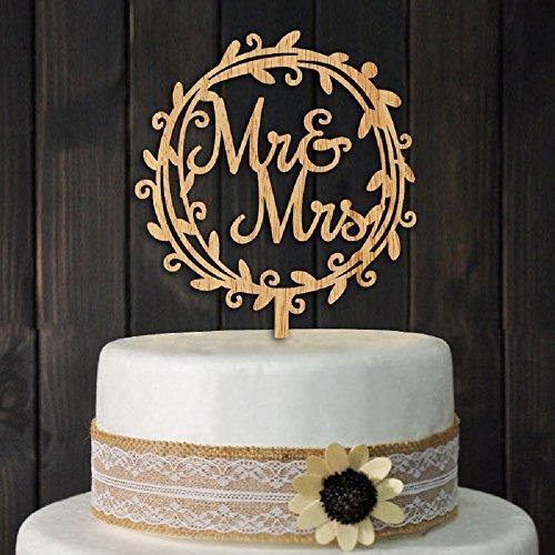 YAMI COCU Mr and Mrs Cake Toppers Rustic Wood Wedding Party Engagement Decoration - CHARMERRY