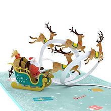 Load image into Gallery viewer, Lovepop Santa Sleigh Pop Up Card - 3D Cards, Christmas Pop Up Cards, Holiday Pop Up Cards, Christmas Cards, Santa Greeting Card, Santa Card - CHARMERRY