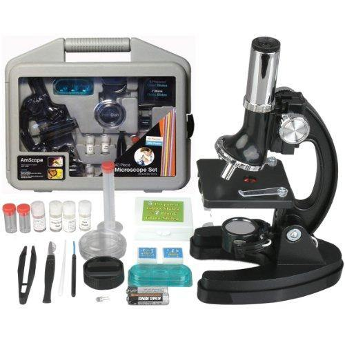 AmScope Kids Beginner Microscope STEM Kit - 120X-1200X 52pcs - CHARMERRY