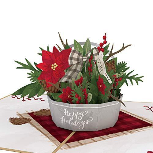 Lovepop Winter Flower Basket Pop Up Card - 3D Card, Flower Basket, Christmas Card, Holiday Greeting Card, Pop Up Flowers, 3D Christmas Card, Merry Christmas Card - CHARMERRY
