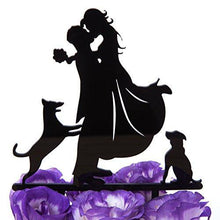 Load image into Gallery viewer, LOVENJOY Dogs Wedding Cake Topper Bride Groom with 2 Dogs Black, Gift Boxed - CHARMERRY