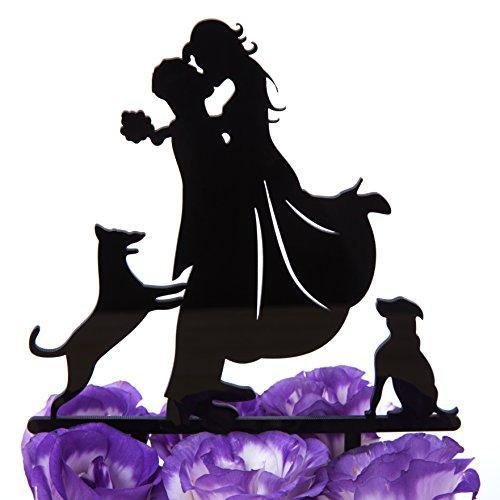 LOVENJOY Dogs Wedding Cake Topper Bride Groom with 2 Dogs Black, Gift Boxed - CHARMERRY