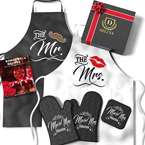 Mr. and Mrs. Aprons with Romantic Recipe Book, Oven Mitts & Pot Holder | Gift Idea for Bridal Shower, Bride, Engagement and Wedding - CHARMERRY