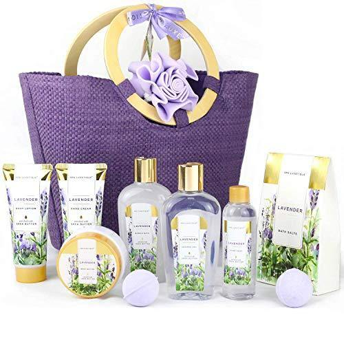 Spa Luxetique Gift Baskets for Women | Lavender Bath and Body Gift Idea For Her - Charmerry