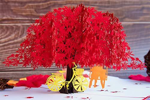 Japanese Maple 3D Pop Up Happy Anniversary Card | Wedding, Valentines, Birthday - CHARMERRY