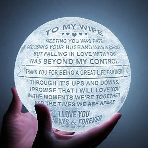 Engraved 3D Moon Lamp | Personalized 3D Printing | Gift for Wife - CHARMERRY