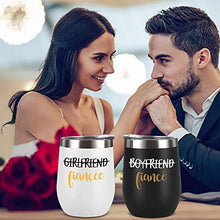 Load image into Gallery viewer, Couple Stainless Steel Wine Tumbler With Lid Set of 2 | Black and White | Gift Idea for Engagement, Fiancé - CHARMERRY