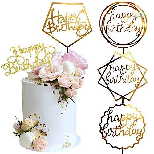 Gold Cake Topper Acrylic Cake Topper Happy Birthday Cake Topper Cake Decoration Supplies (5 Pieces) - CHARMERRY