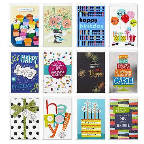 Hallmark Assorted Birthday Greeting Cards (12 Cards and Envelopes) - CHARMERRY
