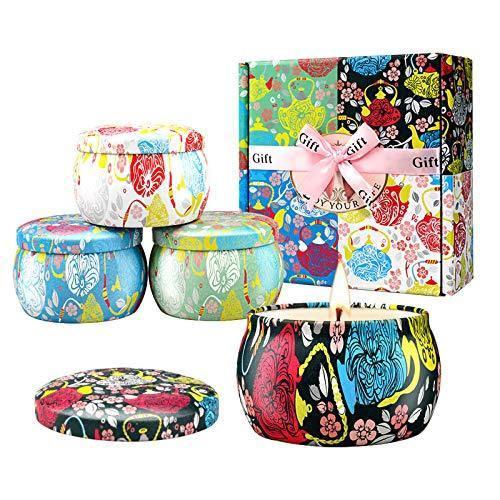 Large Size Scented Candles Gifts Sets for Women 4.4oz Travel Tin Candle, Gardenia, Jasmine and Vanilla Fragrance Gift for Christmas Birthday Mother's Day Bath Yoga - CHARMERRY
