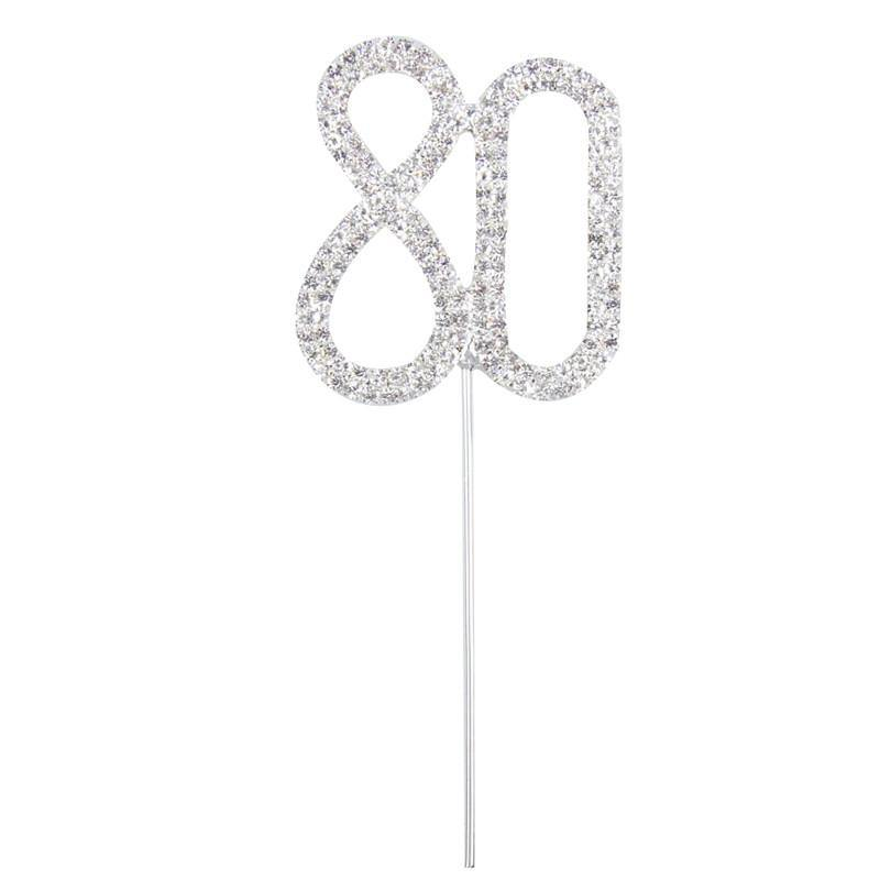 80 Number Crystal Rhinestone  /80th Anniversary Cake Topper (FAUX Diamond Diamante) - CHARMERRY