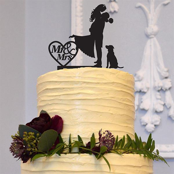 Anniversary /Engagement /Wedding Cake Topper (Dog Pet Puppy) [Romantic Groom Hugging &Lifting Bride] - CHARMERRY