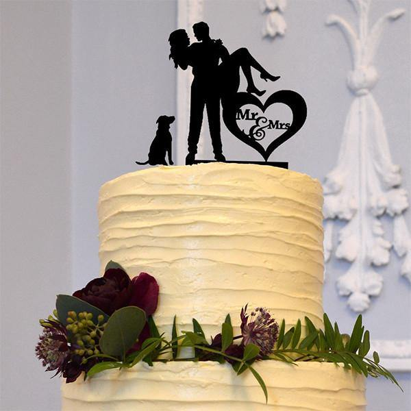 Cake Topper for Engagement &Wedding (Dog Pet Puppy /Bridal Carry) [Romantic Groom Carrying Bride]