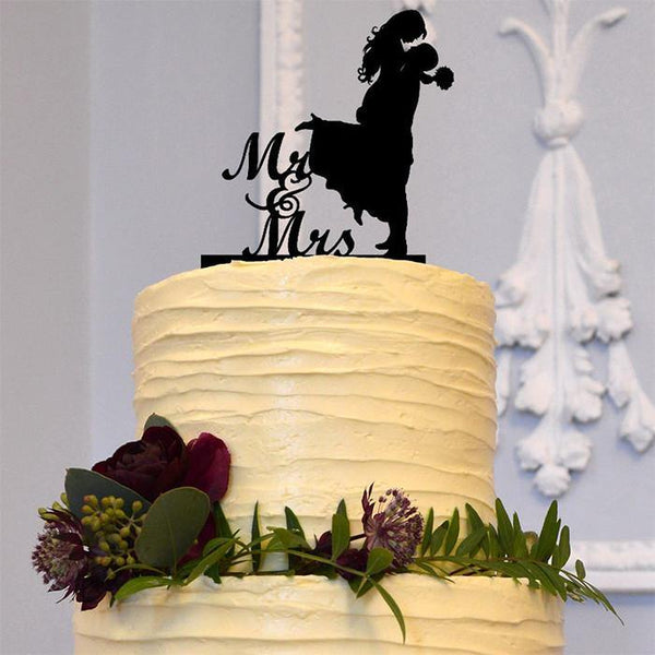 Beautiful Mr Mrs Wedding Cake Topper Decoration (Romantic Bride &Groom)