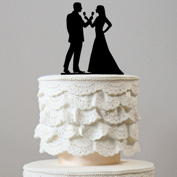 Beautiful Wedding Cake Toppers (Drinking Wine & Celebrating Marriage) Charmerry
