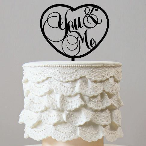 Beautiful You &Me Cake Topper (Romantic Love Heart Shape /Wedding Anniversary Engagement)
