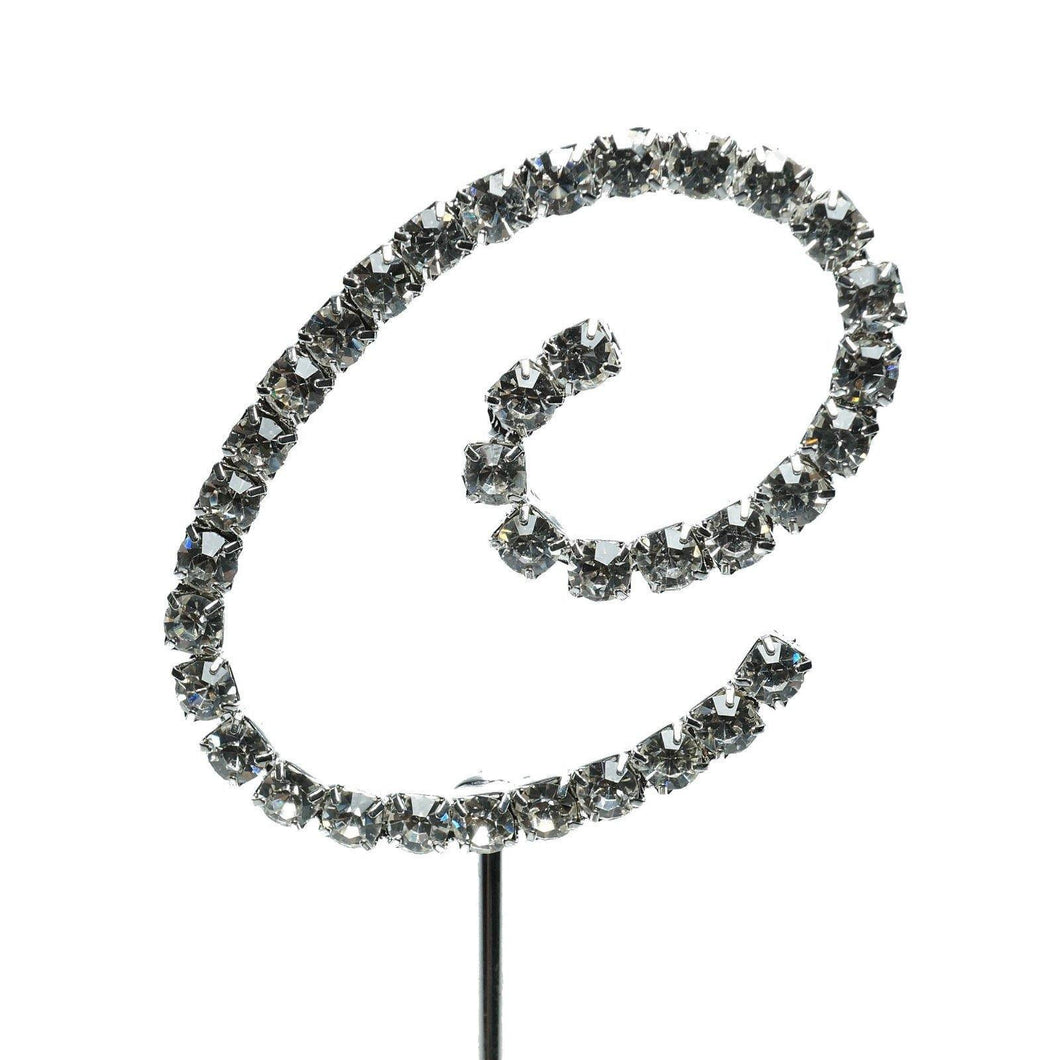 C Letter Crystal Rhinestone Cake Topper (FAUX Diamond /Silver Diamante) - CHARMERRY