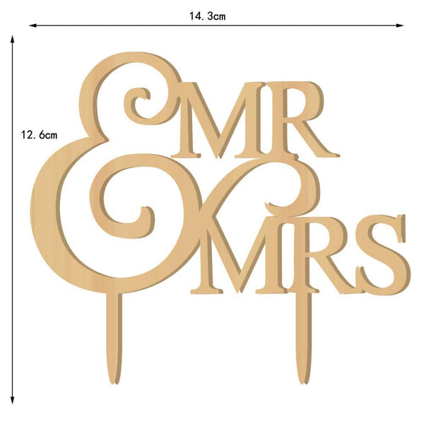 Wood Wedding Cake Topper /Wooden Anniversary Cake Decoration (Mr & Mrs)