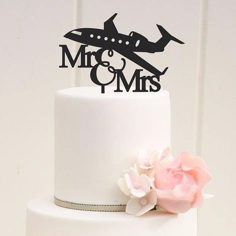 Cake Topper for Wedding Anniversary Engagement (Airplane /Pilot /Travel)