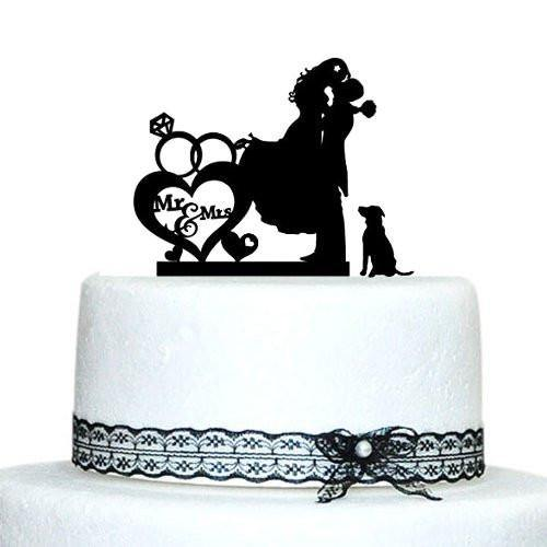 Cake Topper for Wedding &Engagement (Dog Pet Puppy) [Romantic Groom Hugging & Lifting Bride w/ Dog]