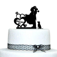 Load image into Gallery viewer, Cake Topper for Wedding &Engagement (Dog Pet Puppy) [Romantic Groom Hugging & Lifting Bride w/ Dog] - CHARMERRY