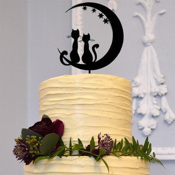 Cats in Love Cake Toppers (Romantic Wedding Keepsakes for Pet Lovers) Charmerry