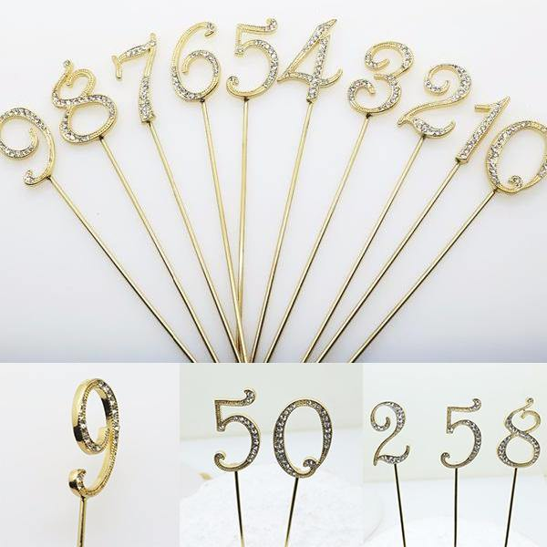 Crystal Rhinestone Numbers for Wedding Anniversary Birthday Decor (FAUX Diamond Cake Topper, Table Numbers) Gold Charmerry a01