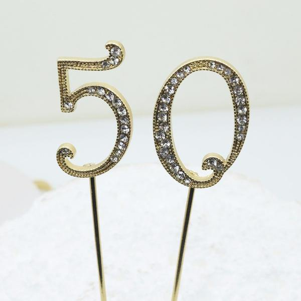 Crystal Rhinestone Numbers for Wedding Anniversary Birthday Decor (FAUX Diamond Cake Topper, Table Numbers) Gold Charmerry a04