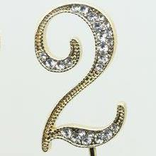 Crystal Rhinestone Numbers for Wedding Anniversary Birthday Decor (FAUX Diamond Cake Topper, Table Numbers) Gold