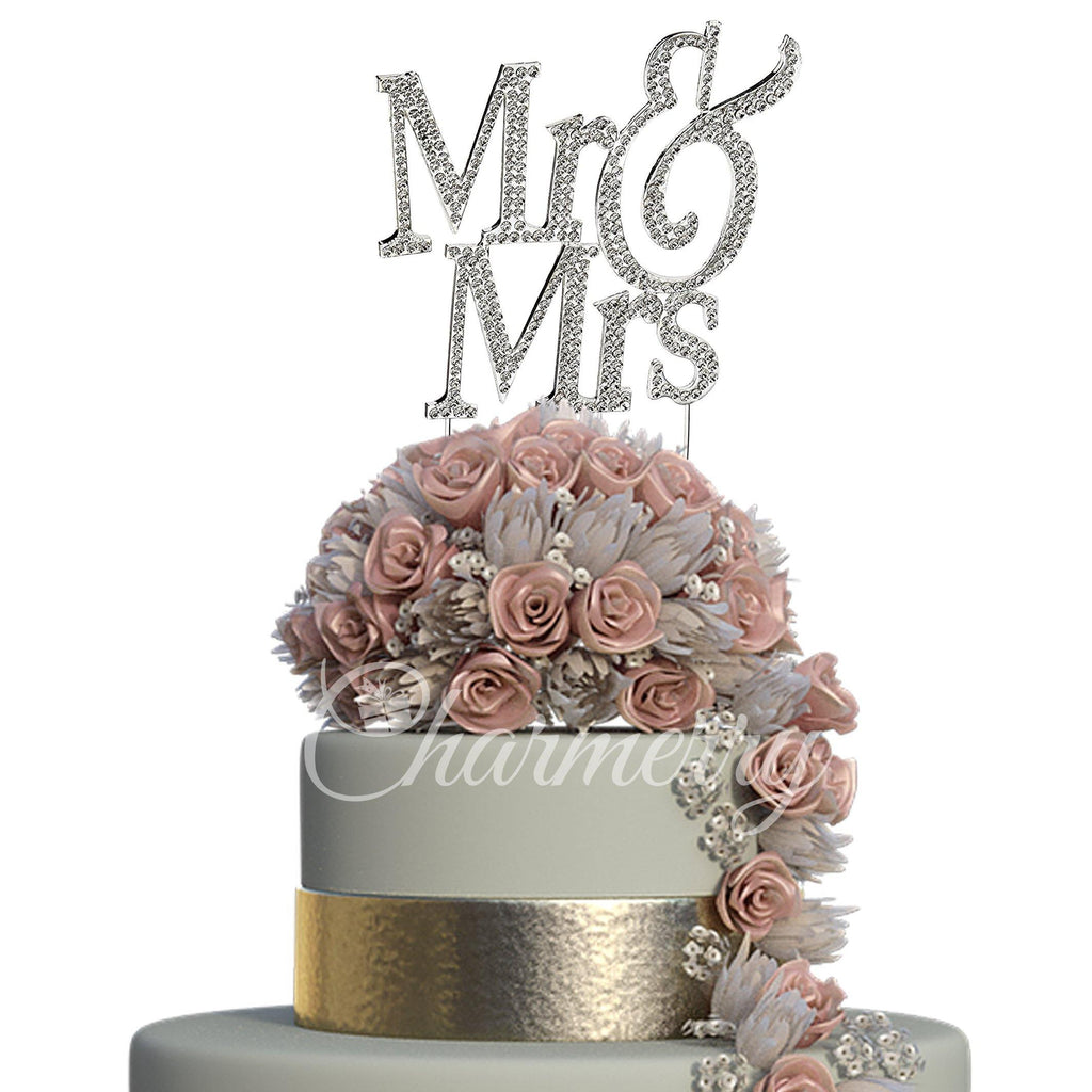 Crystal Rhinestone Wedding Cake Toppers (Luxury FAUX Diamond, Sparkly Shiny & Glitter) Mr Mrs Charmerry a01