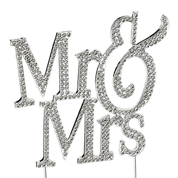 Crystal Rhinestone Wedding Cake Toppers (Luxury FAUX Diamond, Sparkly Shiny & Glitter) Mr Mrs Charmerry a02