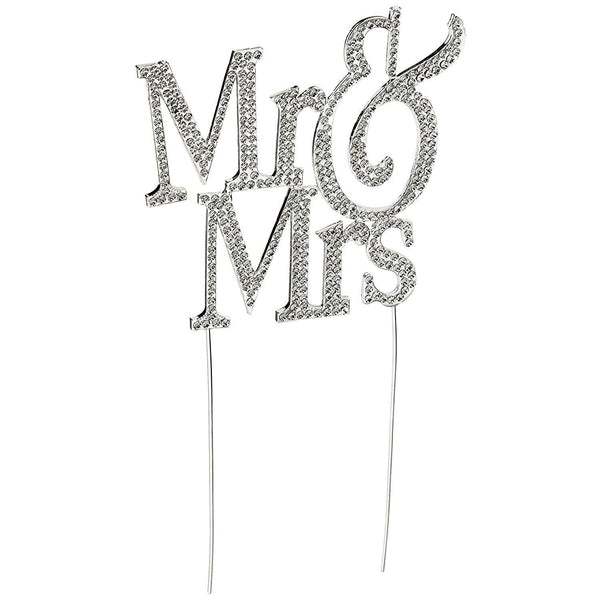 Crystal Rhinestone Wedding Cake Toppers (Luxury FAUX Diamond, Sparkly Shiny & Glitter) Mr Mrs Charmerry a03