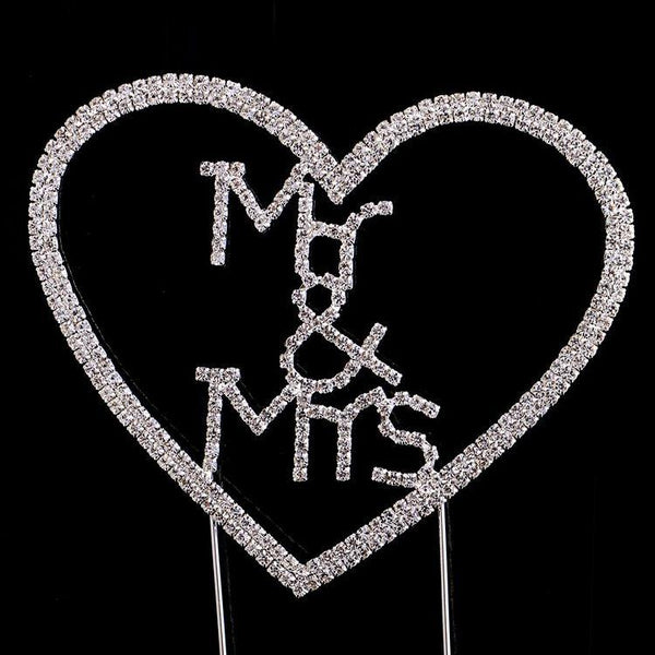 Crystal Rhinestone Wedding Cake Toppers (Luxury FAUX Diamond, Sparkly Shiny & Glitter) Mr & Mrs Charmerry a06