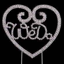 Load image into Gallery viewer, Crystal Rhinestone Wedding Cake Toppers (Luxury FAUX Diamond, Sparkly Shiny & Glitter) Silver Charmerry a77