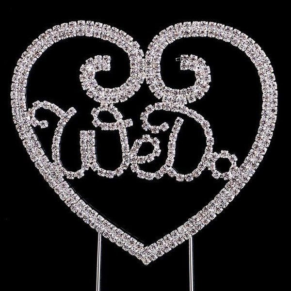 Crystal Rhinestone Wedding Cake Toppers (Luxury FAUX Diamond, Sparkly Shiny & Glitter) Silver Charmerry a77