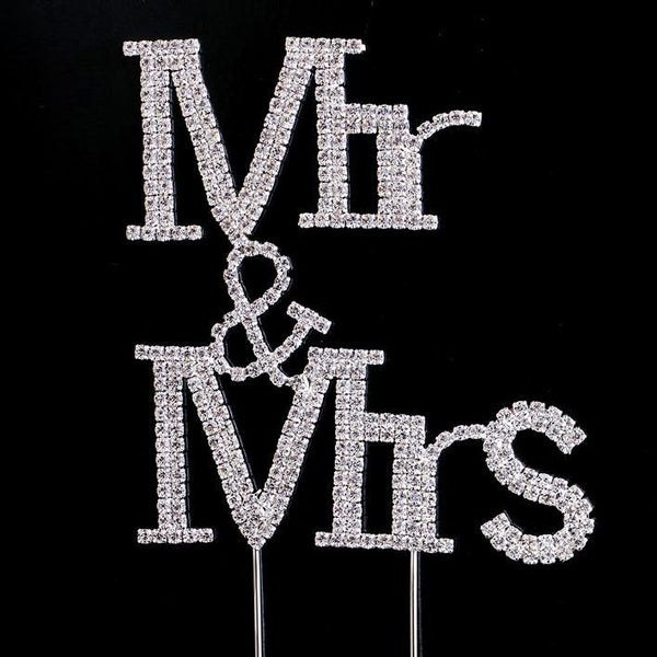 Crystal Rhinestone Wedding Cake Toppers (Luxury FAUX Diamond, Sparkly Shiny & Glitter) Silver Charmerry a05
