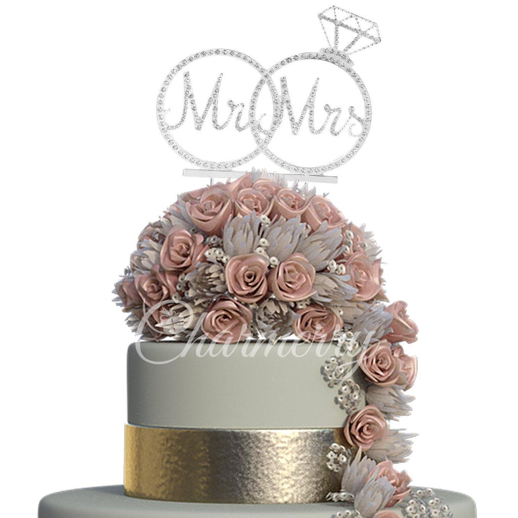 Crystal Rhinestone Wedding Cake Toppers (Mr Mrs Diamond Ring) Luxury Sparkly Shiny & Glitter Charmerry a01