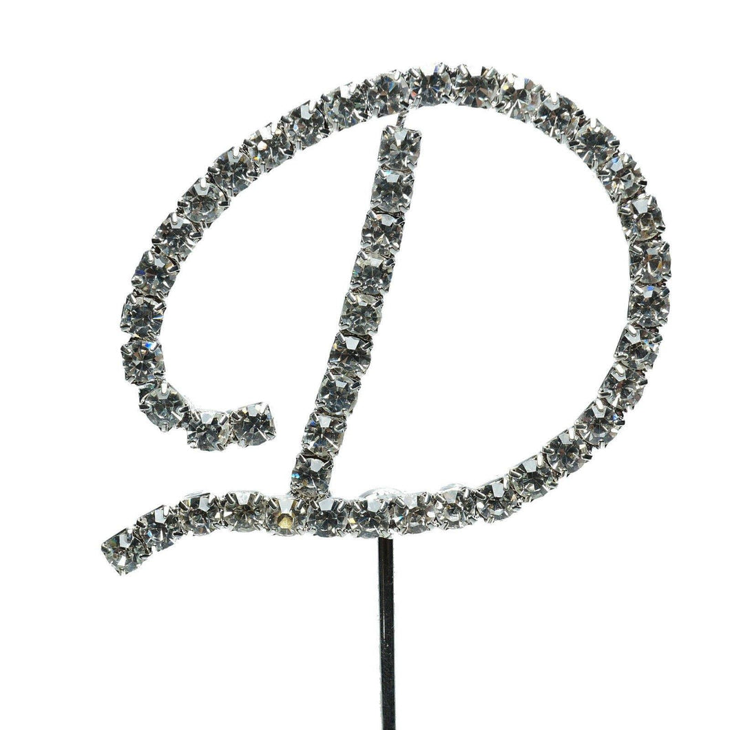 D Letter Crystal Rhinestone Cake Topper (FAUX Diamond /Silver Diamante) - CHARMERRY