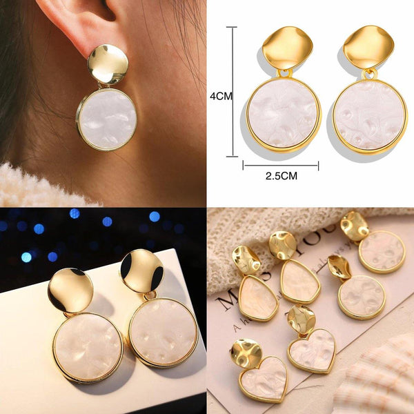 Dangle & Drop Earrings | Gold Silver, Simple Elegant Minimal Outfit Additions CHARMERRY A26