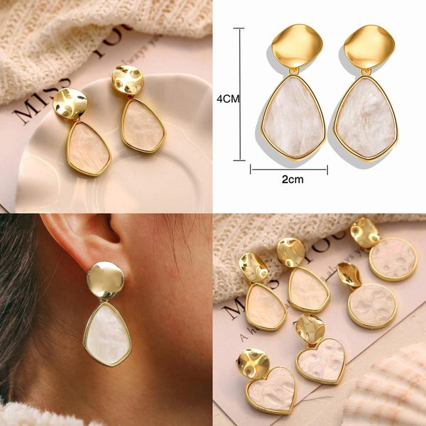 Dangle & Drop Earrings | Gold Silver, Simple Elegant Minimal Outfit Additions CHARMERRY A27