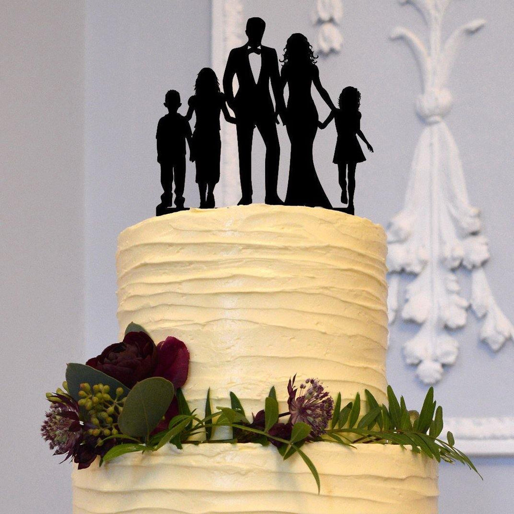 Engagement Wedding Cake Topper (Son /Daughter /Family Members /Children) [Bride, Groom & 3 Kids]